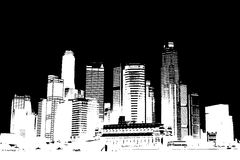 Cityscape in Black and White. Cityscape view of buildings in black and white royalty free illustration