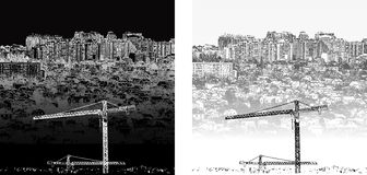 Cityscape black and white day and night. Vector illustration of urban landscape of black and white day and night. It can be combined with any text or image Stock Image