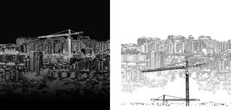 Cityscape black and white day and night Royalty Free Stock Image