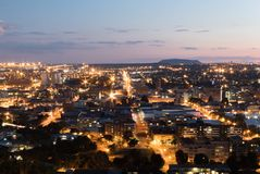 Cityscape of Bloemfontein, South Africa from naval hill. At night time with car light streaks Stock Photography