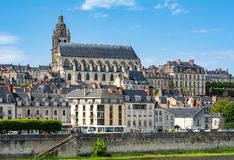 Cityscape of Blois small town in Loire valley with Cathedral of St. Louis, France royalty free stock photos