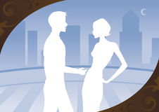Cityscape Blue. Couple in white silhouette, standing on a balcony - blue cityscape in the background Vector Illustration