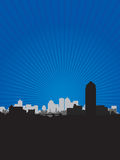 Cityscape blue background. Black cityscape on a blue background Stock Photo