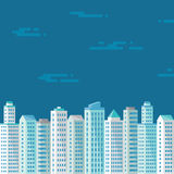 Cityscape on the blue background in flat style for presentation, booklet, leaflet and different design works. Buildings concept illustration. City illustration Stock Photo