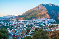 Cityscape of blue city Chefchaouen in Rif mountains, Morocco, No. Cityscape of blue city Chefchaouen in Rif mountains, Morocco in North Africa stock photography