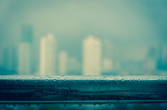 Cityscape blur photo with rains Stock Photography