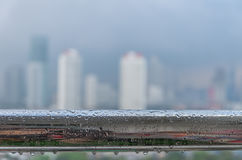 Cityscape blur photo with rains Royalty Free Stock Photo