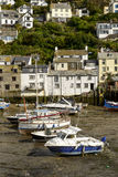 Cityscape with boats aground, Polperro Royalty Free Stock Photos