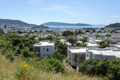Cityscape of Bodrum, Turkey. With harbor and St. Peter`s castle Royalty Free Stock Photography