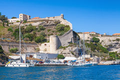 Cityscape of Bonifacio, Corsica. Moored yachts Royalty Free Stock Image