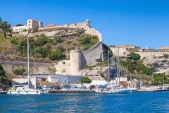 Cityscape of Bonifacio, Corsica. Moored yachts Royalty Free Stock Image