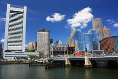 Cityscape of Boston. Cityscape showing financial district viewed from harbor in Boston, Massachusetts, U.S.A Royalty Free Stock Photos
