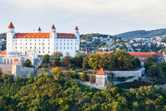 Cityscape of Bratislava city with castle Royalty Free Stock Images