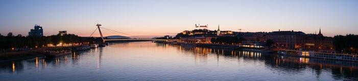 Cityscape of Bratislava at dusk, Slovakia Royalty Free Stock Image