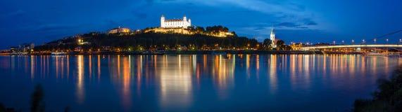 Cityscape of Bratislava at night, Slovakia Stock Photos