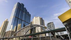 Cityscape. Bridge link between train platform of  mass transportation in heart of Bangkok , Thailand Royalty Free Stock Photo