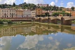 Cityscape, bridge Ponte alle Grazie over Arno River in Florence Stock Images