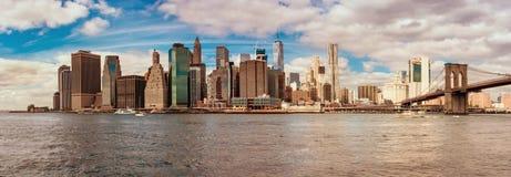 Brooklyn Bridge and Cityscape of New York Stock Photo