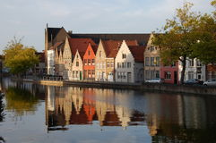 Cityscape of Bruges, Belgium. Canal embankment in the evening in Bruges, Belgium Stock Photos