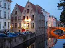Cityscape of Bruges, Belgium. BRUGES, BELGIUM - SEPT 24, 2011 - Canal embankment in the evening in Bruges, Belgium Royalty Free Stock Image