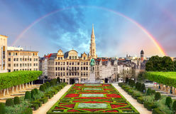 Cityscape of Brussels with rainbow, Belgium panorama skyline.  stock image