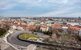 Cityscape of Buda from Pest across Danube river, Budapest, Hungary.  royalty free stock photo