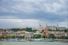 City of Budapest at Danube River in Hungary, Buda side cityscape. Cityscape of buda side in Budapest at day time from Danube river, Hungary royalty free stock image