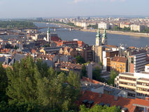 Cityscape from Budapest. With view of the Danube and the Margit island Royalty Free Stock Images