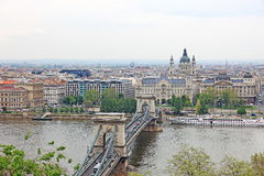 Cityscape of Budapest, Chain bridge. Royalty Free Stock Photo