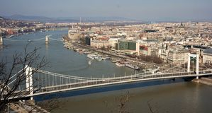 Cityscape of Budapest. City centre with view Elisabeth Bridge spans Danube river Royalty Free Stock Photos