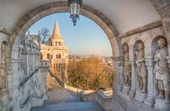 Cityscape of Budapest  with Danube River. Panoramic View of Budapest and the Danube River as Seen from Gellert Hill Lookout Point Stock Photo