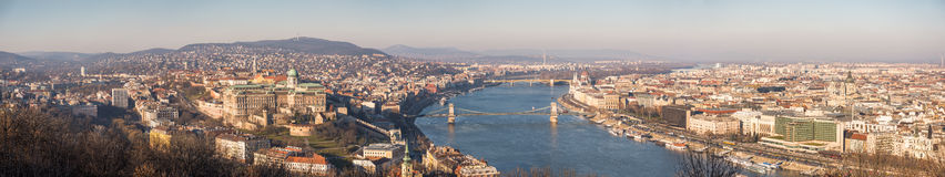 Cityscape of Budapest  with Danube River. Wide Panoramic View of Budapest and the Danube River as Seen from Gellert Hill Lookout Point Stock Image