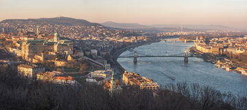 Cityscape of Budapest, Hungary at Sunset. Panoramic View of Budapest and the Danube River as Seen from Gellert Hill Lookout Point Royalty Free Stock Photo