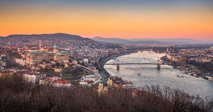 Cityscape of Budapest, Hungary at Sunset. Panoramic View of Budapest and the Danube River as Seen from Gellert Hill Lookout Point Stock Photo