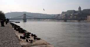 Cityscape of Budapest. With Shoes Memorial in the Danube bank, Chain Bridge and Buda Castle Stock Images