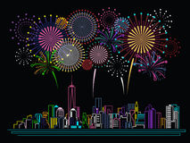Cityscape Building Line art and Firework vector design Stock Image