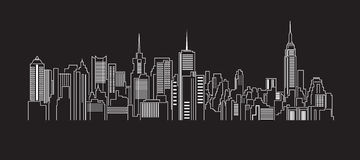 Cityscape Building Line art Vector Illustration design Stock Images