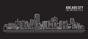 Cityscape Building Line art Vector Illustration design - Adelaide city Royalty Free Stock Photos