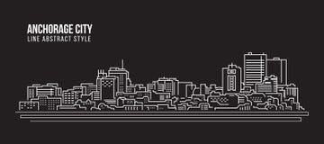 Cityscape Building Line art Vector Illustration design - Anchorage city Stock Photography