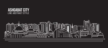 Cityscape Building Line art Vector Illustration design - Ashgabat city Stock Images