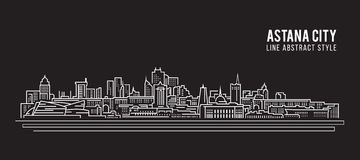 Cityscape Building Line art Vector Illustration design - Astana city Royalty Free Stock Photo