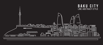 Cityscape Building Line art Vector Illustration design - Baku City Royalty Free Stock Photography