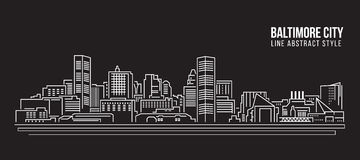 Cityscape Building Line art Vector Illustration design - Baltimore City Royalty Free Stock Photos