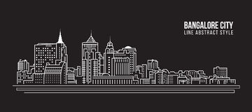 Cityscape Building Line art Vector Illustration design - Bangalore city Stock Photography