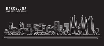 Cityscape Building Line art Vector Illustration design - Barcelona city Royalty Free Stock Images