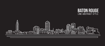 Cityscape Building Line art Vector Illustration design - Baton Rouge city Royalty Free Stock Photography