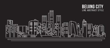 Cityscape Building Line art Vector Illustration design - Beijing city Stock Photography