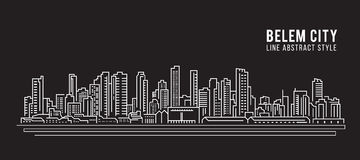 Cityscape Building Line art Vector Illustration design - Belem city Royalty Free Stock Photography