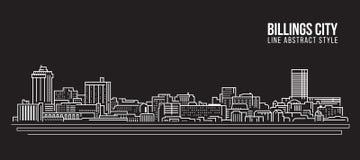 Cityscape Building Line art Vector Illustration design - Billings city Royalty Free Stock Photo