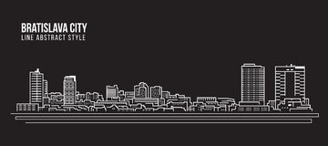Cityscape Building Line art Vector Illustration design - Bratislava city Stock Photos